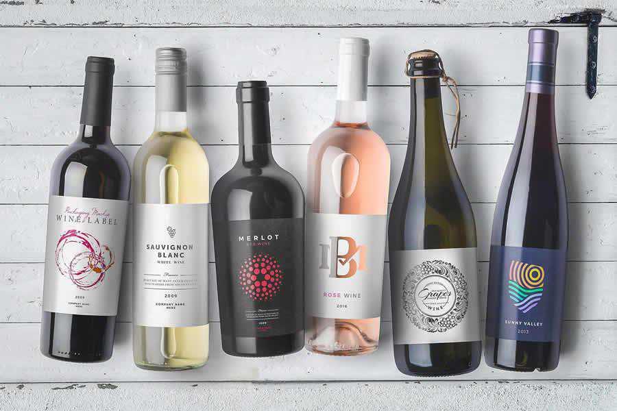 Wine Bottles PSD Mockups label design inspiration