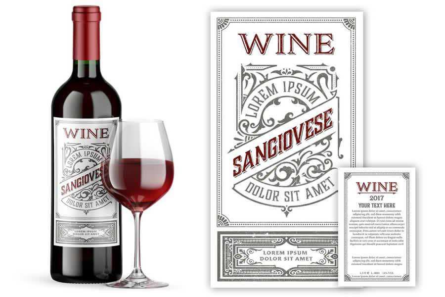 Vintage Wine Set Labels Template design inspiration