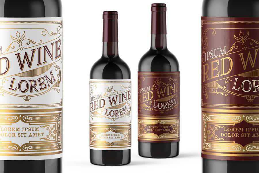 Template Vintage Red wine label design inspiration