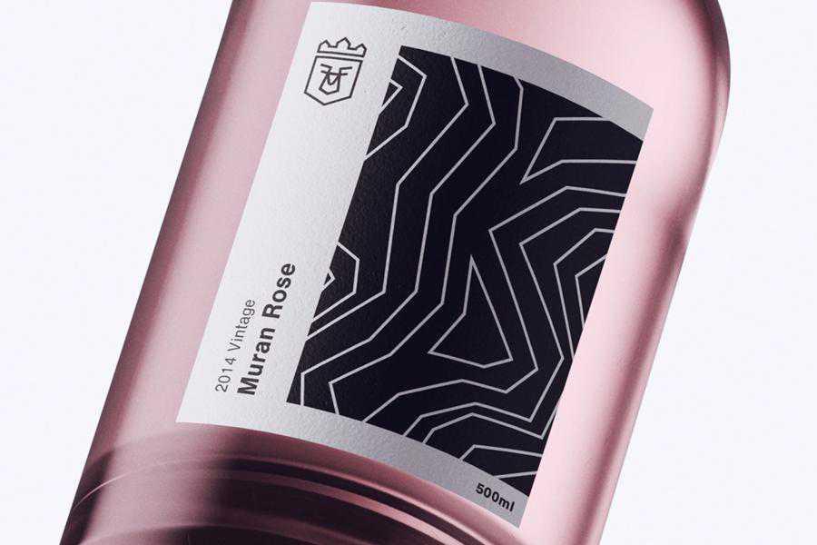 Muran Rose Bottle wine label design inspiration