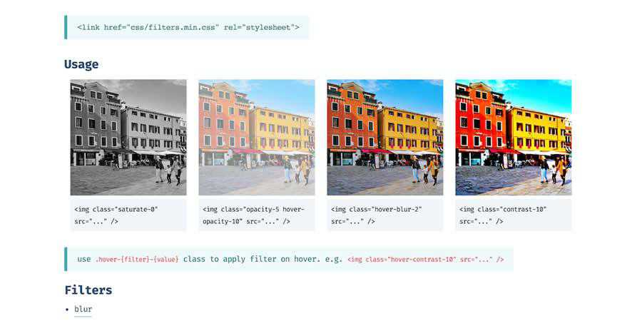 filters.css CSS CSS3 image filter toolbox