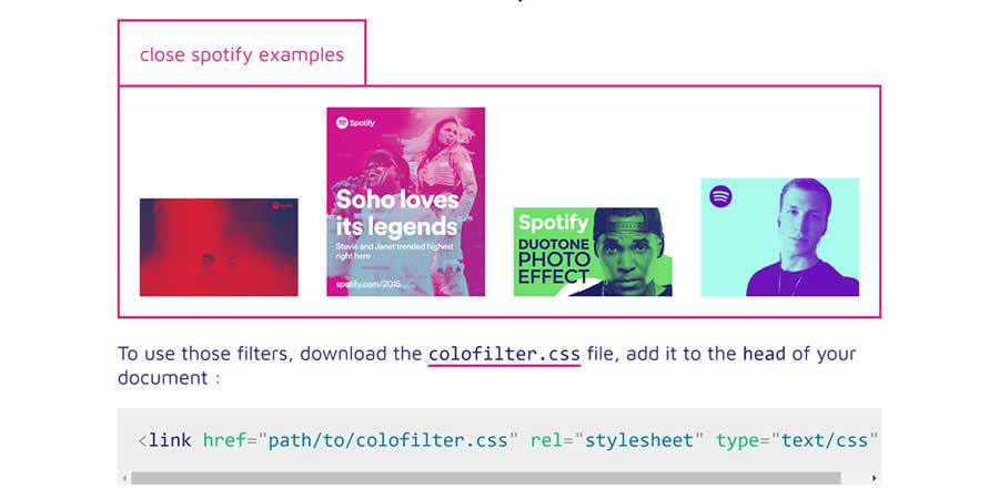 colofilter library CSS image filter toolbox