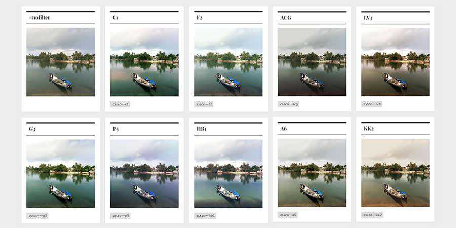 CSSCO library CSS image filter toolbox