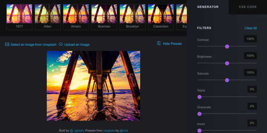 cssFilters web generator CSS image filter toolbox