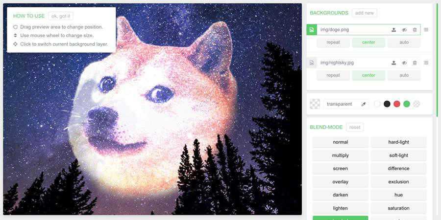 Blend generator CSS image filter toolbox