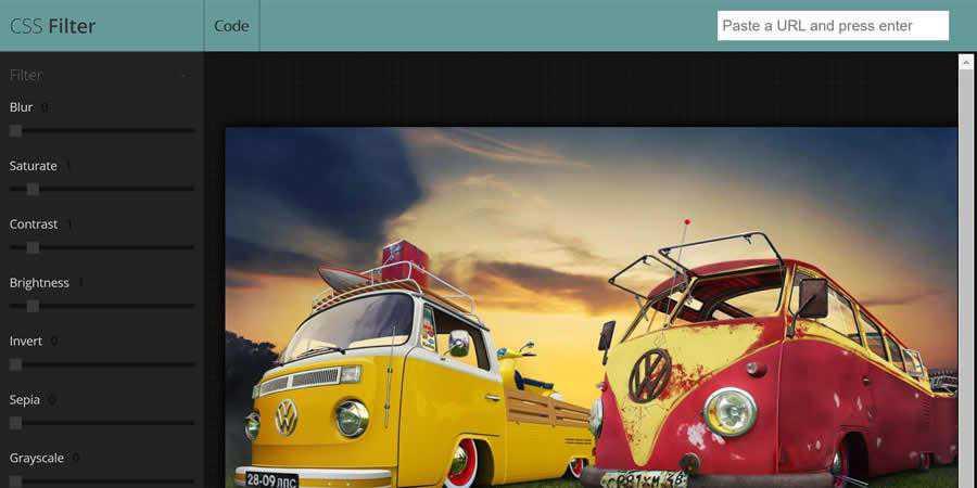 CSS image filter toolbox generator