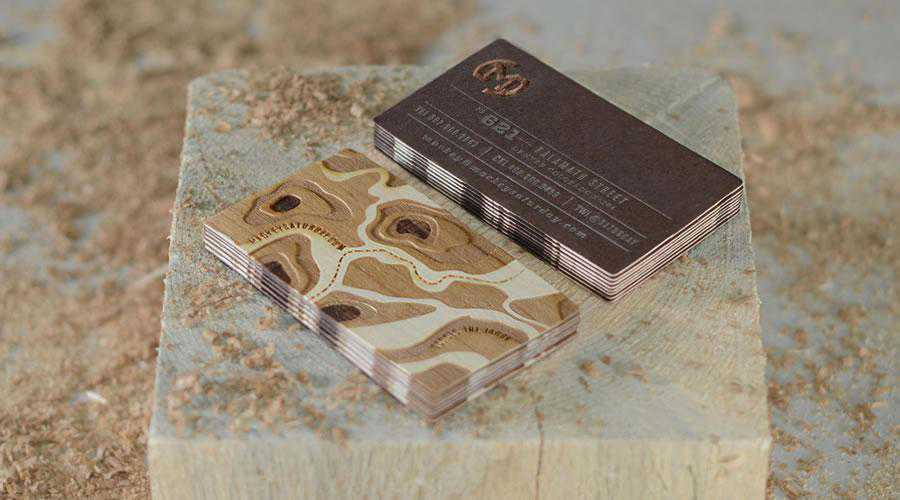 Double-sided wood veneer with embossed metallic ink, inspiration for creative designers