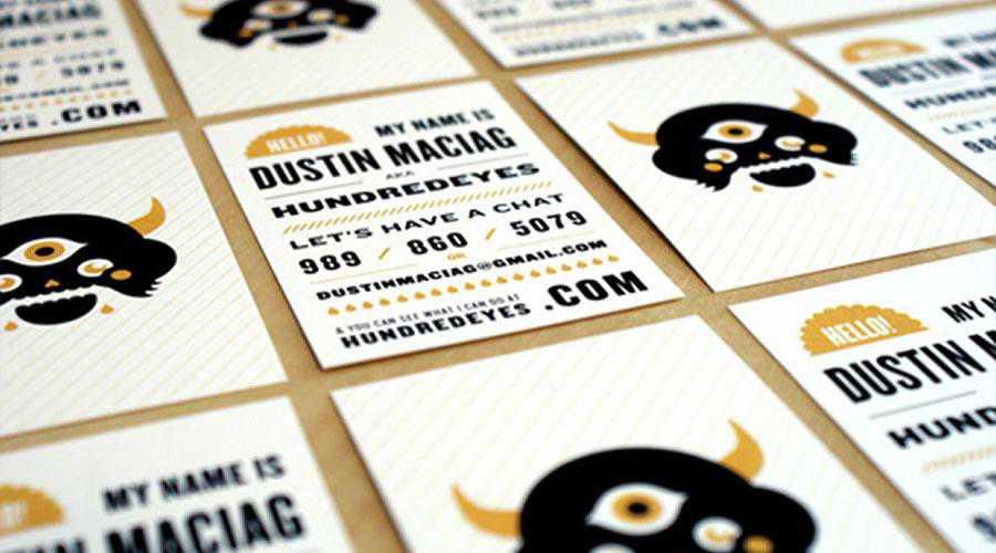 One Hundred Eyes business cards inspire designer ads