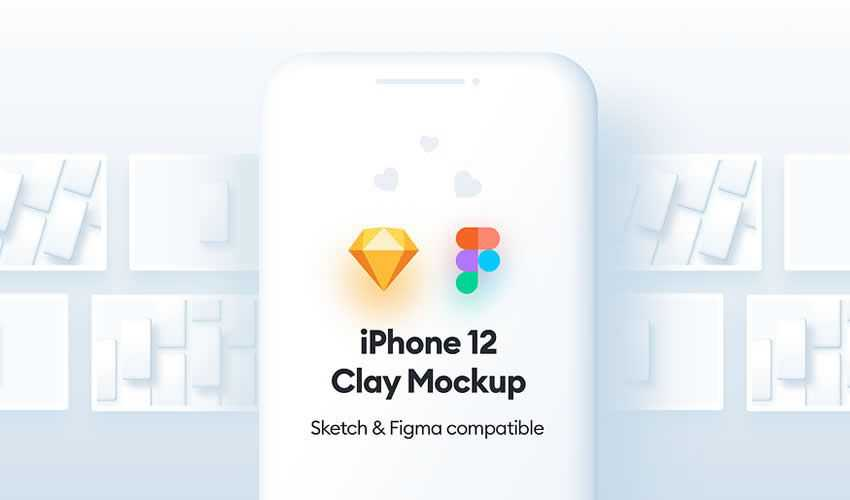 iPhone Clay Mockup Templates free figma ui kit