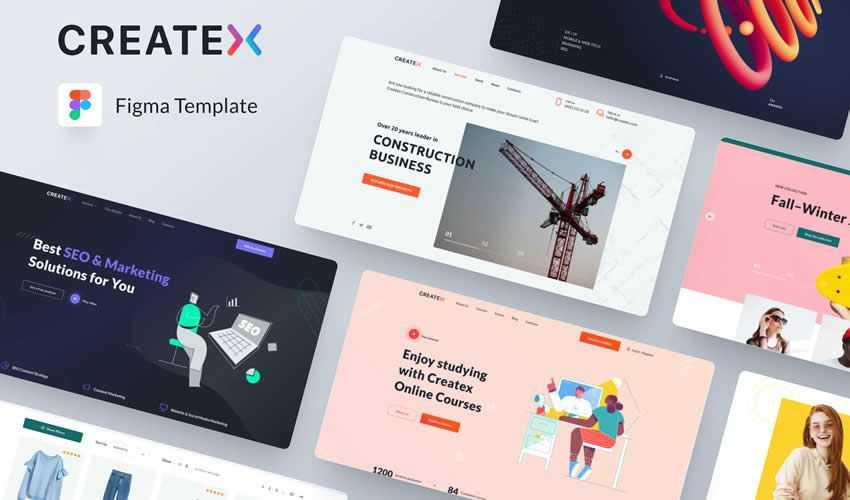 Createx Website Templates figma ui kit