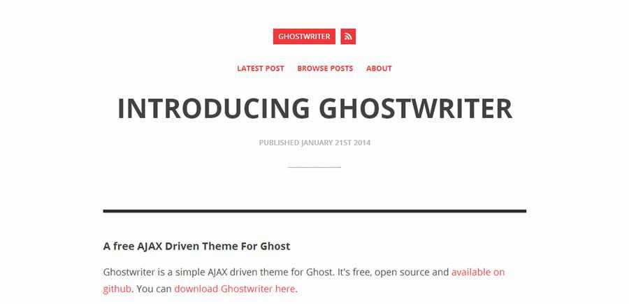 Ghostwriter theme ghost free