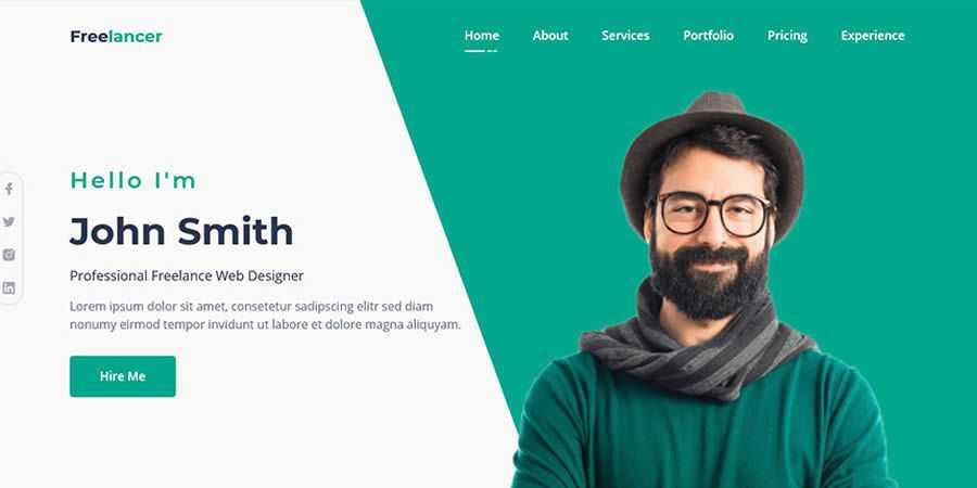 Freelancer free resume html templates cv