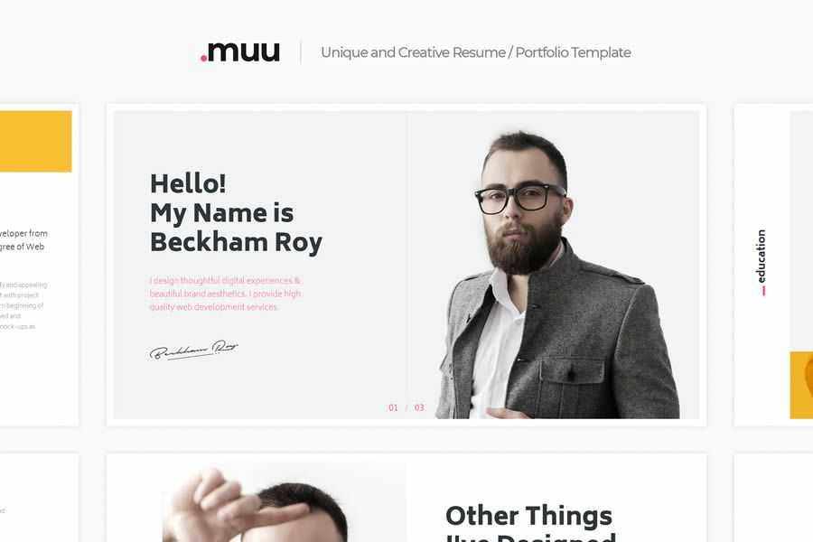 MUU vCard free resume html templates cv