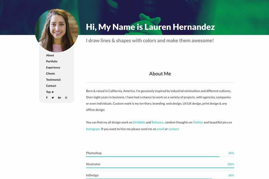 Rezyme One-Page free resume html templates cv