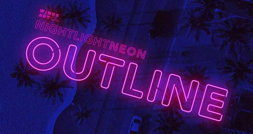 Retro Neon Outline Font family