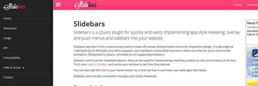 Slidebars - App-Style Push Menu Plugin javascript navigation menu responsive web design