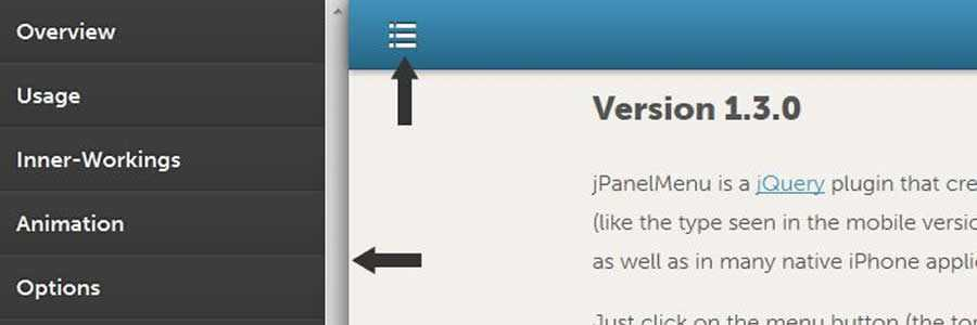 jPanelMenu Animated Paneled-Style javascript navigation menu responsive web design