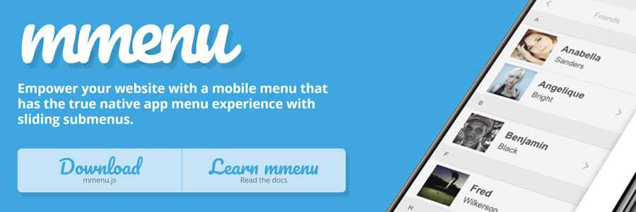jQuery mmenu javascript navigation menu responsive web design