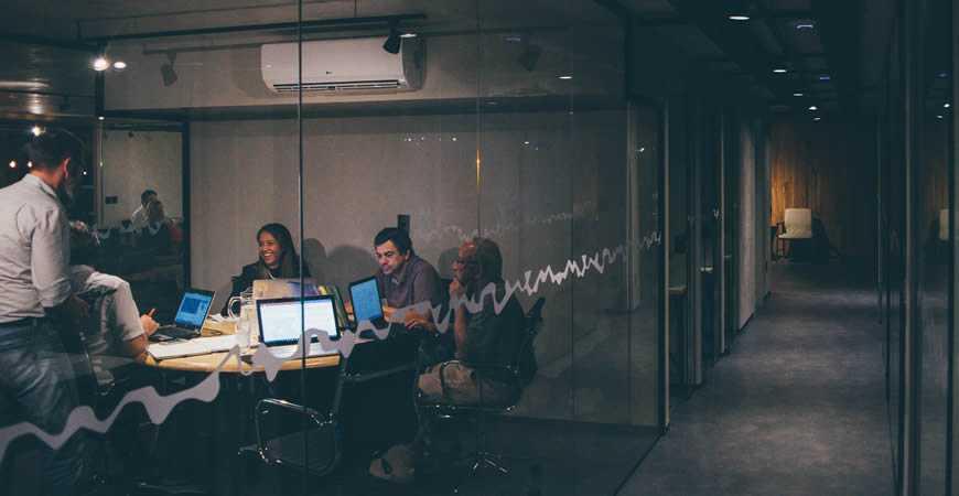 designer startup meeting conference room