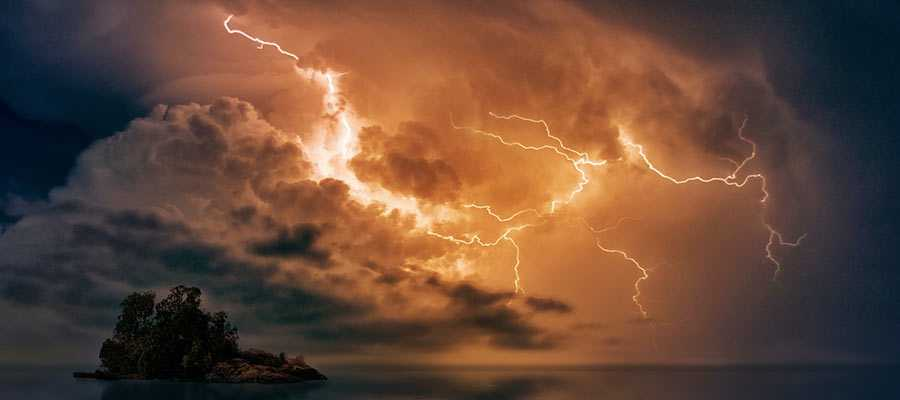Lightning bolts in the sky.