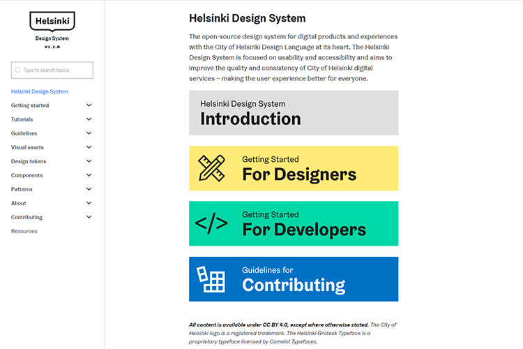 Example from Helsinki Design System