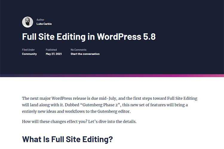 Example from Full Site Editing in WordPress 5.8