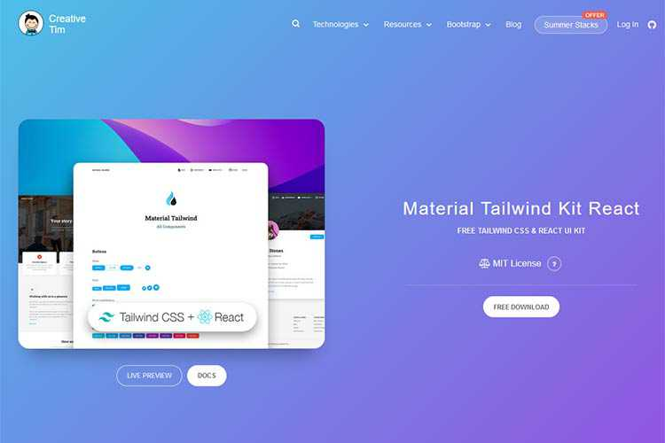 Example from Material Tailwind Kit React