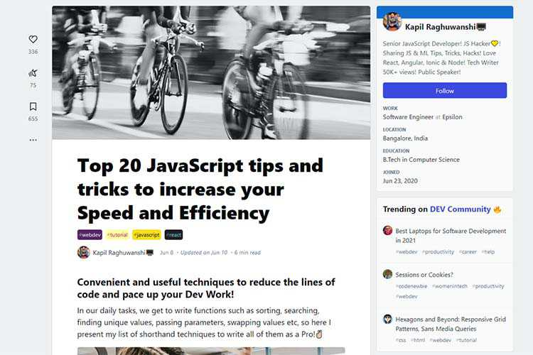 Example from Top 20 JavaScript tips and tricks to increase your Speed and Efficiency