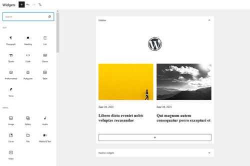 The WordPress Widgets Screen Joins the Gutenberg Era