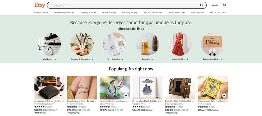 The Etsy website uses a multi-column layout to highlight shop categories.