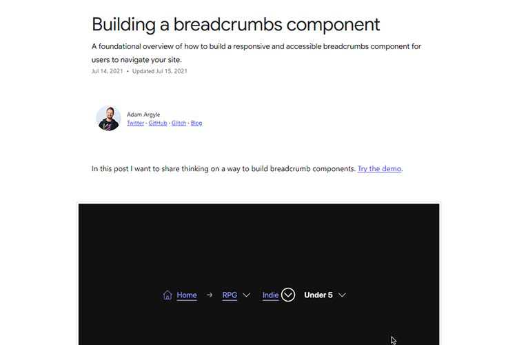 Example from: Building a breadcrumbs component