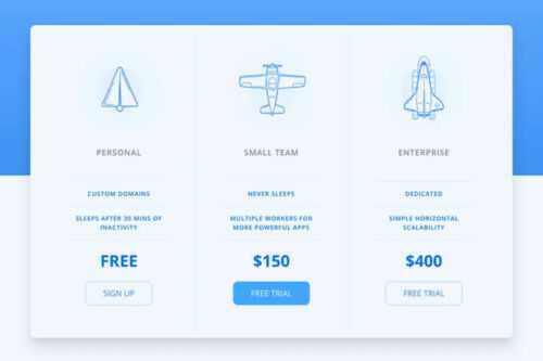 Example 10 of a free CSS snippet for creating responsive price tables