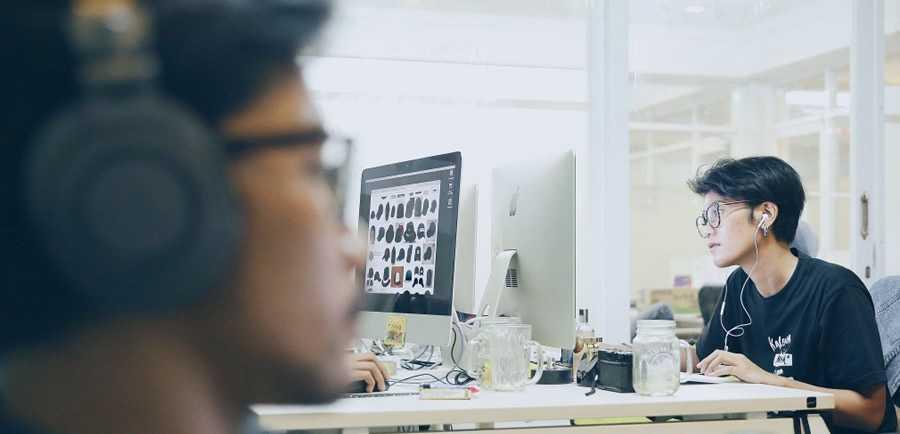 designer working office listen