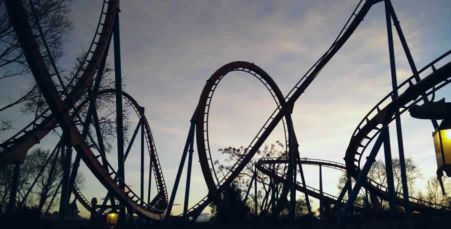 rollercoaster representing the career of a designer