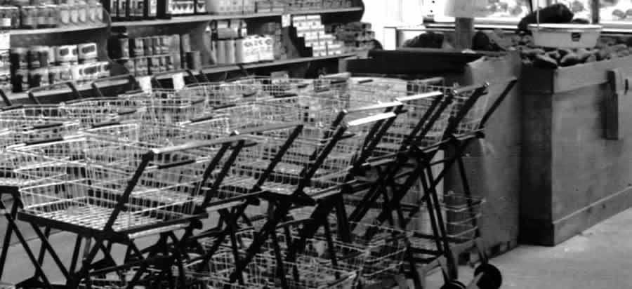 row of vintage shopping carts