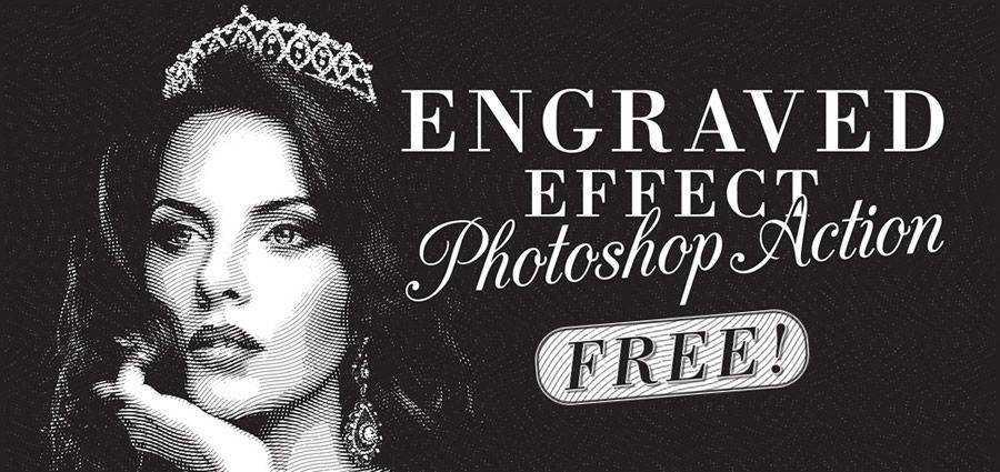 Efecto de ilustración grabada de la acción de photoshop gratis vintage atn