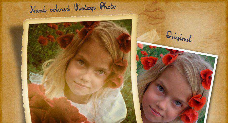 Acción de Photoshop gratis vintage coloreada a mano atn