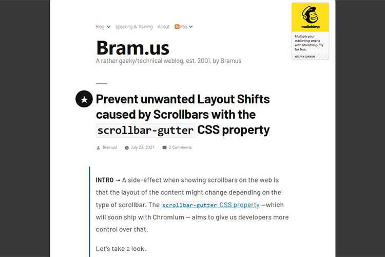 Example from Prevent unwanted Layout Shifts caused by Scrollbars with the scrollbar-gutter CSS property