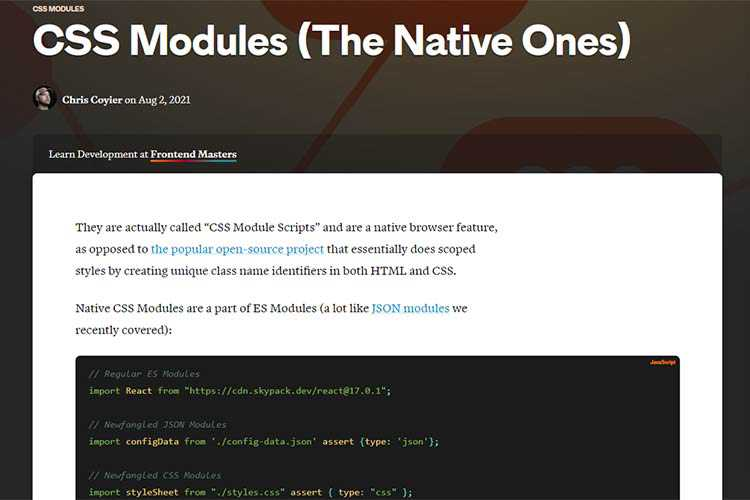 Example from CSS Modules (The Native Ones)