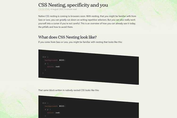 Example from CSS Nesting, specificity and you