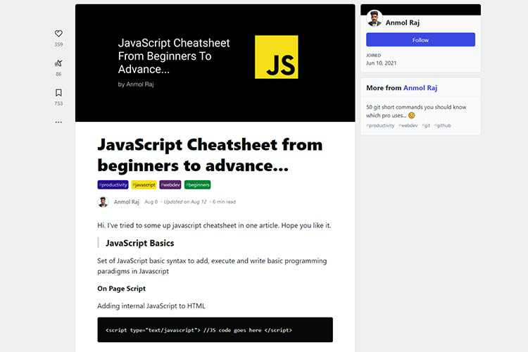 Example from JavaScript Cheatsheet from beginners to advance...