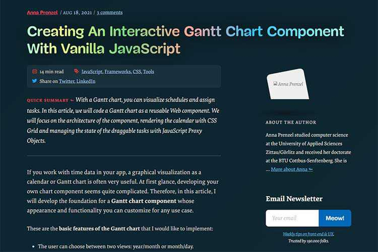Example from Creating An Interactive Gantt Chart Component With Vanilla JavaScript