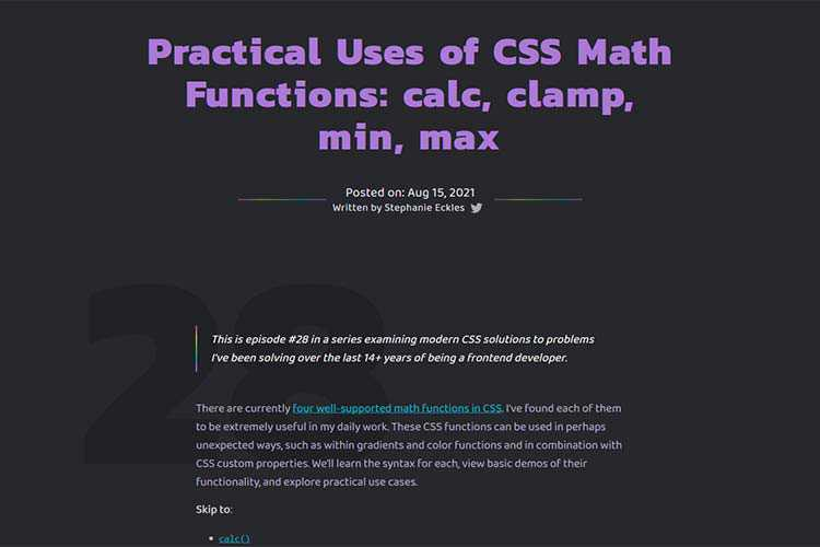 Example from Practical Uses of CSS Math Functions: calc, clamp, min, max