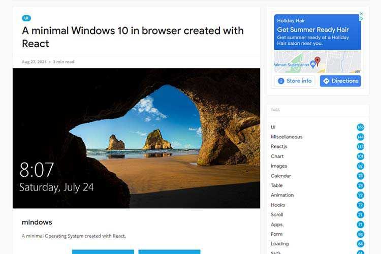 Example from A minimal Windows 10 in browser created with React