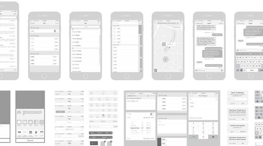 iPhone Vector Wireframing Toolkit free wireframe template Illustrator AI Format
