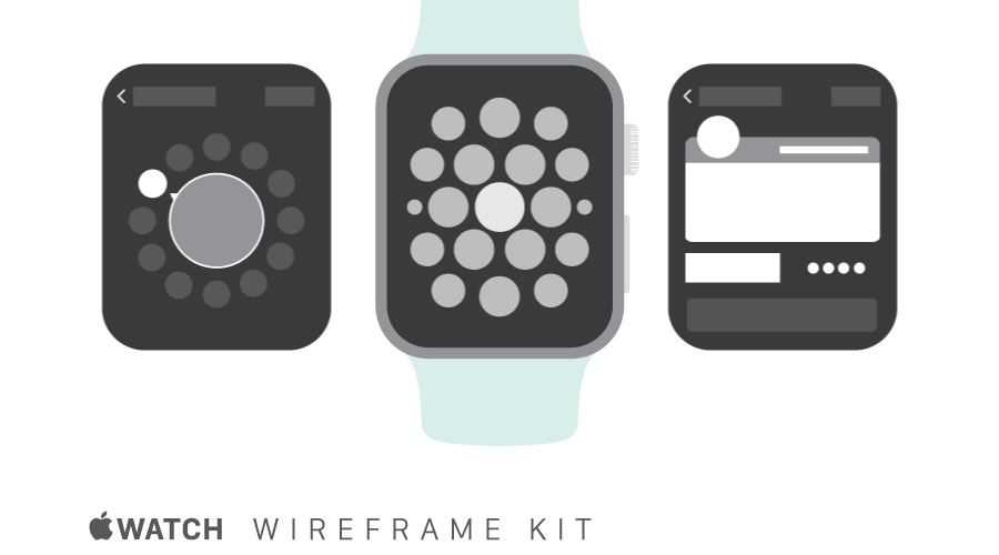 Apple Watch free wireframe template Illustrator AI Format