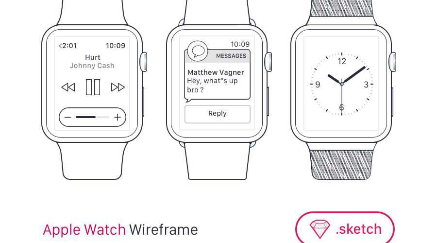 Apple Watch free wireframe template Sketch Format