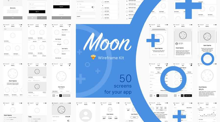 Moon free wireframe template Sketch Format