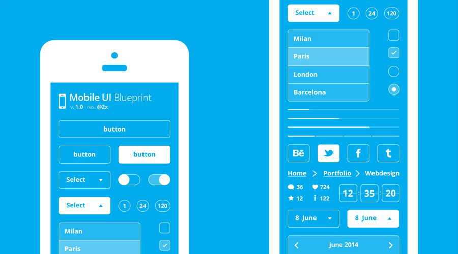 Mobile UI Blueprint free wireframe template Photoshop PSD Format