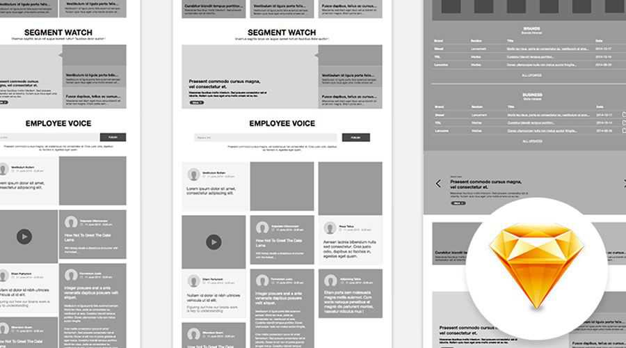 Website free wireframe template Sketch Format